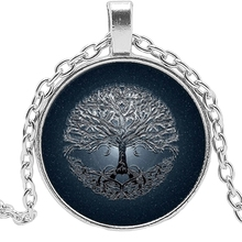 2019 Hot Creative Dark Blue Tree of Life Time Crystal Glass Convex Round Pendant Necklace Clothing Sweater Chain Jewelry цена