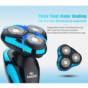 Image 5 - Máquina de afeitar eléctrica 4D para hombres, afeitadora para Barba, lavable, recargable, en seco y húmedo, resistente al agua