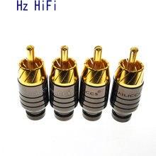 2 pièces de haute qualité bricolage plaqué or HIFI RCA prise salut end auto verrouillage Audio vidéo connecteur pour câble Audio