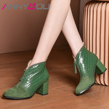 Купить с кэшбэком ANNYMOLI Autumn Ankle Boots Women Boots Zipper Thick High Heels Short Boots Mixed Colors Round Toe Shoes Ladies Green Size 34-39