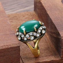 Kinel Hot Oval Green Stone Rings For Women Antique Gold Austrian Crystal CZ Finger Party Rings Gift Wholesale Drop Shipping