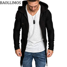 Мужские толстовки с капюшоном с черный Халат хип хоп мантия толстовки модная куртка с длинными рукавами Повседневные мужские пальто