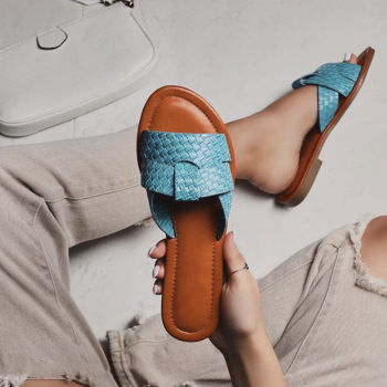 Woven Slippers Women Summer Flats Shoes Sandals Weave  Flip Flops Leather Fashion 2020 Slides Woman Black Blue Sandals Ladies sequins women slippers closed toe bling gladiator sandals flip flops glitter flats lady slides wedding shoes eyes sandalias 40