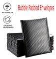 50 шт., черные полиэтиленовые пакеты-отправители с подкладкой, конверты для подарочной упаковки, полиэтиленовые пакеты с самоуплотнением 13x18...
