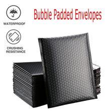 Saco poli alinhado do auto do selo 13x18cm do mailer da bolha de 50 pces envelopes acolchoados do mailer da bolha do preto poli para o empacotamento do presente