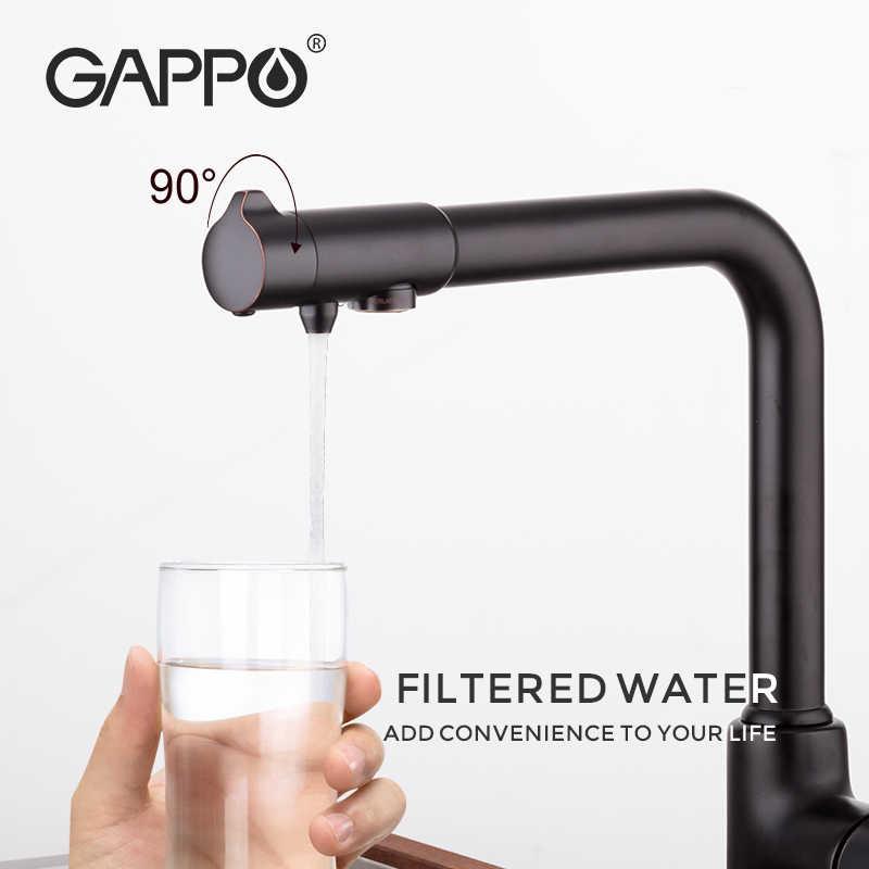 GAPPO смеситель для кухни с фильтрующей водой, смеситель для кухонной раковины, фильтрованный смеситель для кухни, Черный кран, смесители torneira