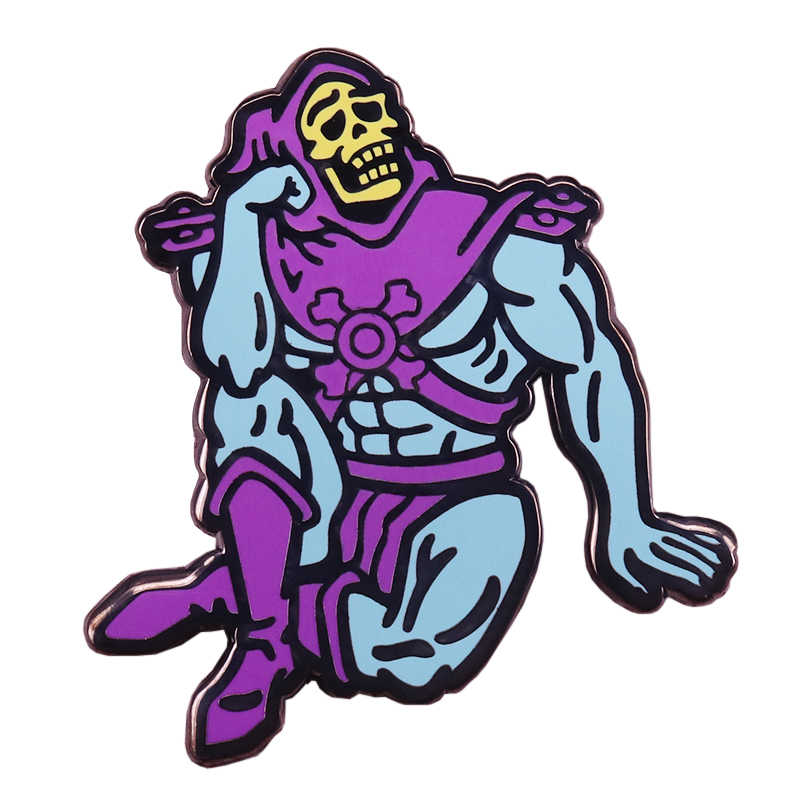 Skeletor Enamel Pin Contemplative Hantu Bros Masters Of The Universe HE-Man Lencana Gothic Halloween Hadiah