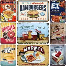 Deliciosa comida carteles de Metal palomitas Gremlins Vintage Placa de hierro Retro Decoración de pintura Pared de cocina sala de estar y comedor