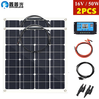 Xinpuguang 50w flexible Solar Panel 100w Solar Mono Cell 12v/24v battey Charger 10A Controller battery home system for car Boat