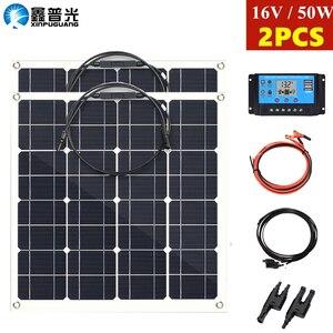 Xinpuguang 50w painel solar flexível 100w solar mono célula 12 v/24 v battey carregador 10a controlador bateria casa sistema para o barco de carro