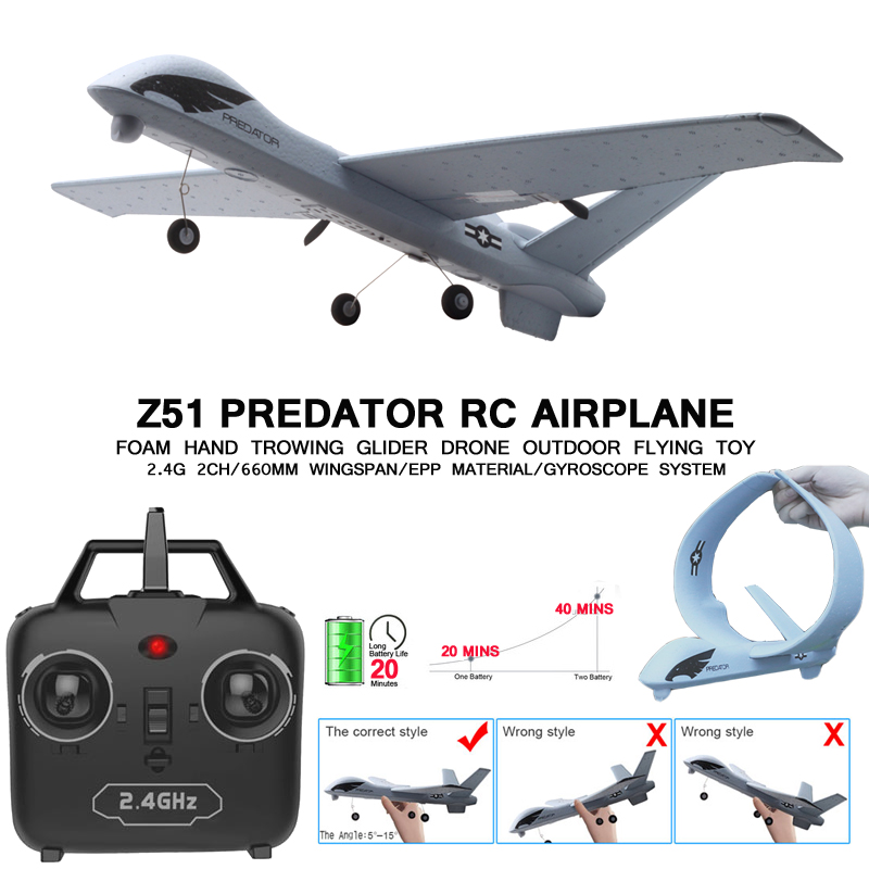 RC Plane 20 Minutes Flight Time Glider Toy Plane Foam With LED 2.4G Remote Control Hand Throwing Wingspan Kids RC Jet Airplane image
