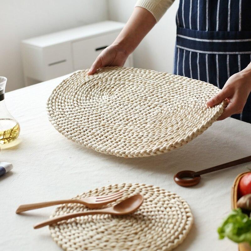 Креативный тканый коврик из кукурузы и меха, изоляционный коврик для горшка, круглый коврик для кофейных напитков, чайных чашек, Настольный коврик, coaster WF924220|Коврики и подложки|   | АлиЭкспресс