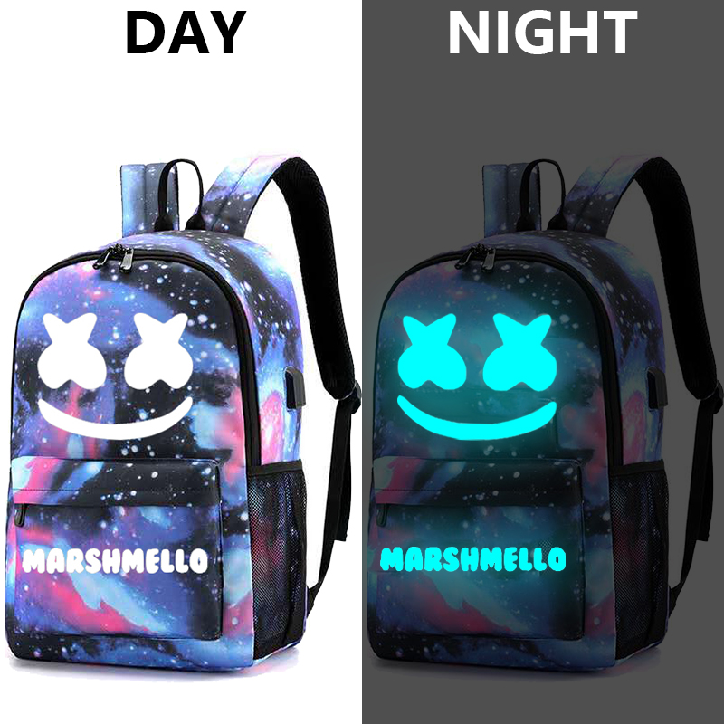 Image 5 - Canvas Luminous Waterproof DJ Marshmello Anti theft Laptop Backpack for Teenager Boys Girls Student School Backpack Men Womenbag-in Backpacks from Luggage & Bags