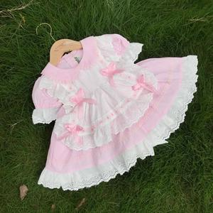 От 2 до 7 лет, летнее винтажное Розовое Бальное платье принцессы с короткими рукавами для маленьких девочек, пасхальное платье для дня рожден...
