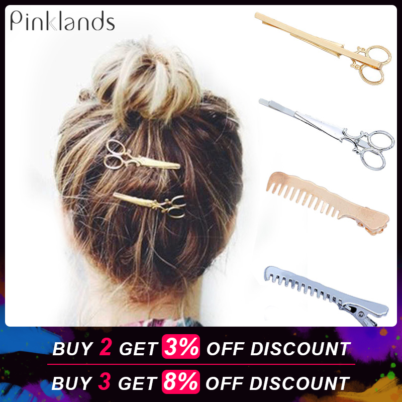 Gold Silver Metal Hair Clip Creative Scissors Leaves Comb Shapes Hairpin Clamps Hair Decorations Accessories Hair Barrettes