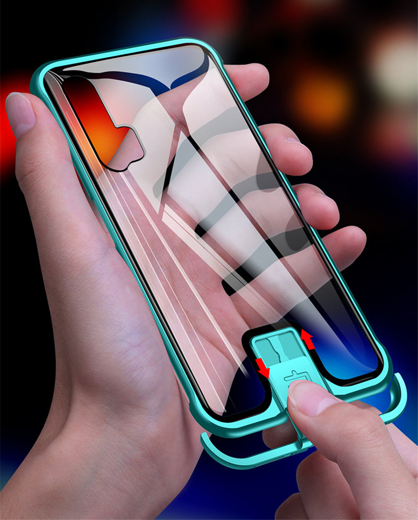 R-just Borderless Series Metal Frame Phone Case For Huawei Honor 20 Protect Case Glass Back Cover Cases For Huawei Honor 20 Pro (3)