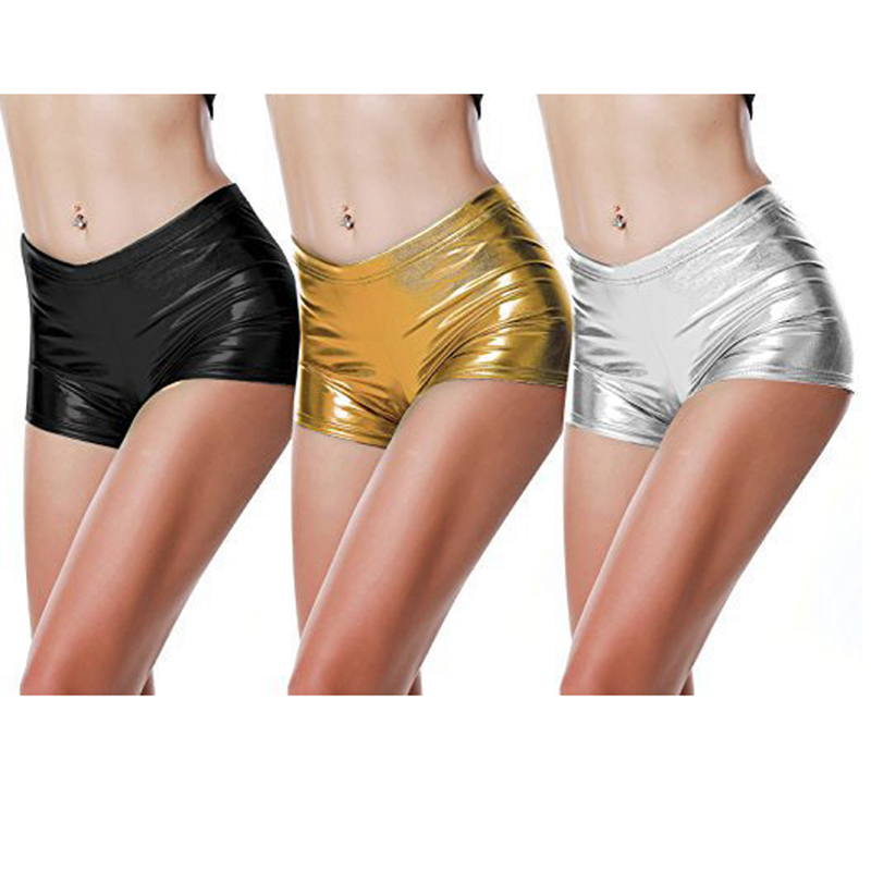 2020 PU Leather Shorts Women Sexy Women Short Pants Slim Casual Elastic Waist Shorts Plus Size Hot Pants Gold Black Silver Color