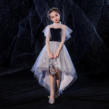 Baby Kids Elegant Fashion Front Short Back Long Tail Dress For Birthday Holiday Party Little Children Teens Piano Costumes Dress