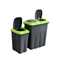 Living Room Trash can Double Classification Trash can With lid Household Kitchen dry And wet Separation Trash can 45L|Waste Bins| |  -