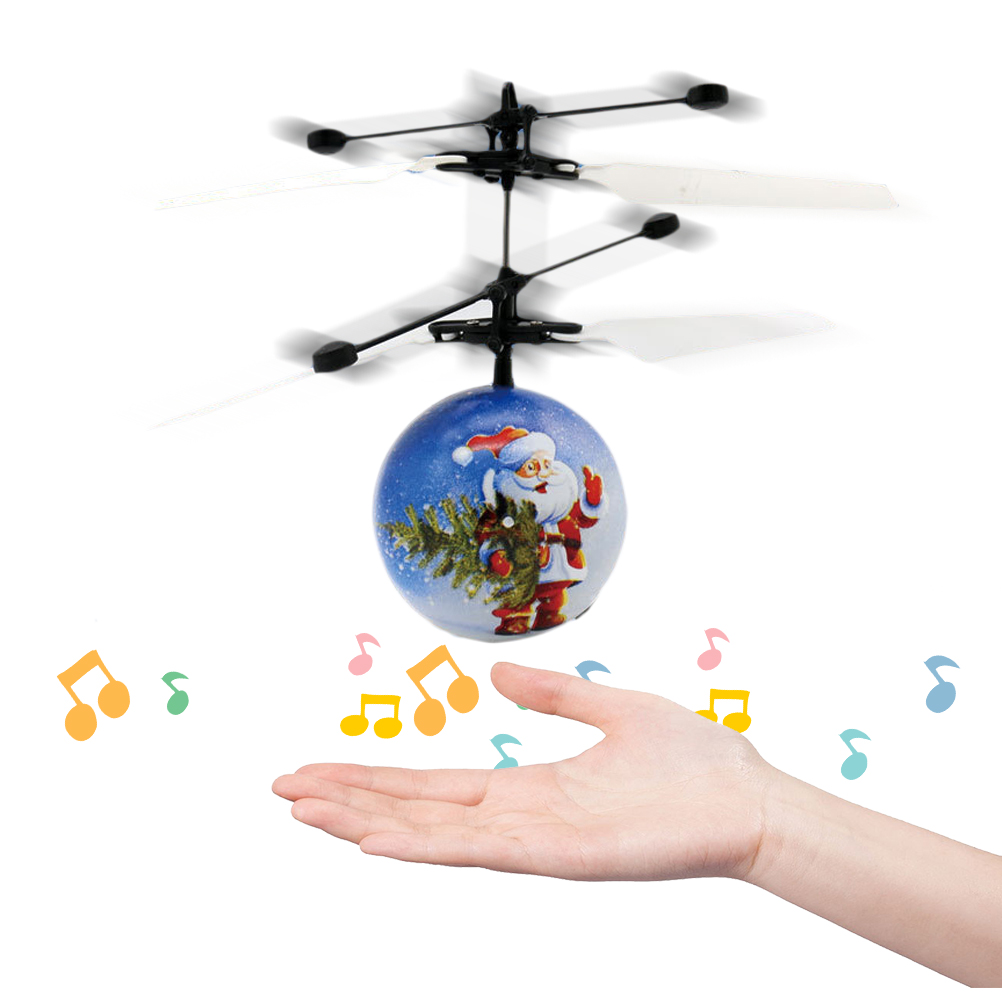Santa Claus Music Induction Helicopter Fans You Induction Suspended Hand Flight Simulator Toy Children