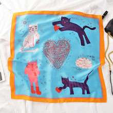 PHLE New small silk scarf cute cat small square scarf spring summer autumn simulation silk decoration small scarf(China)