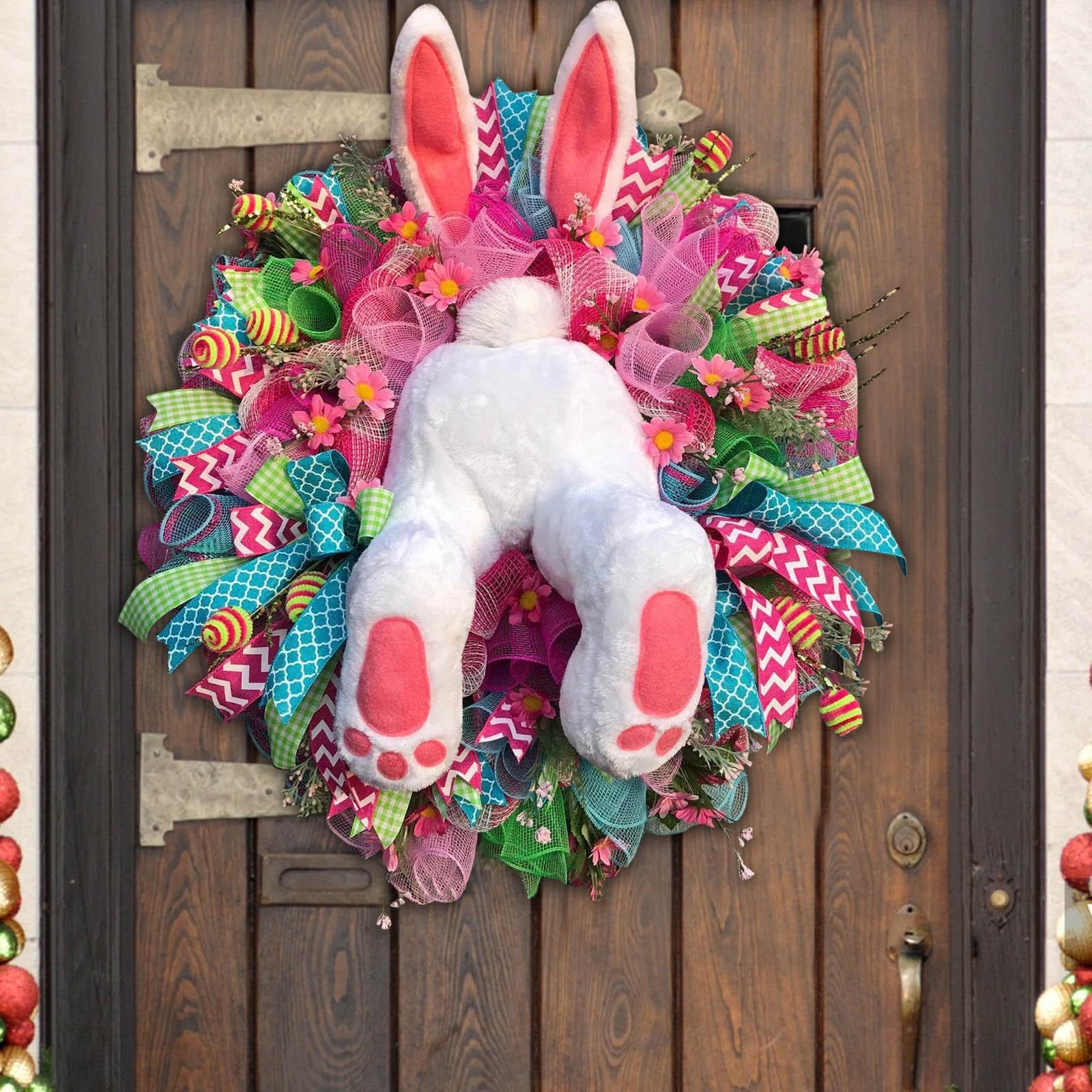 Пасхальный венок в виде кролика с пасхальным крестом, украшение для дома, весенний свадебный венок, Мультяшные украшения в форме кролика, C18