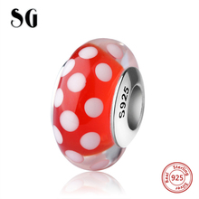 SG lovely red Murano glass beads with white spot silver 925 charms fit authentic pandora bracelet jewelry accessories making