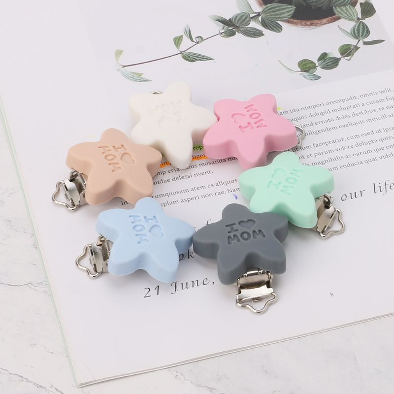 Baby Baby Pacifier Clip Soother Teether Star Shape Silicone Safe Holder Saliva Towel Support Anti Fall Cute Clips Newborn Infant