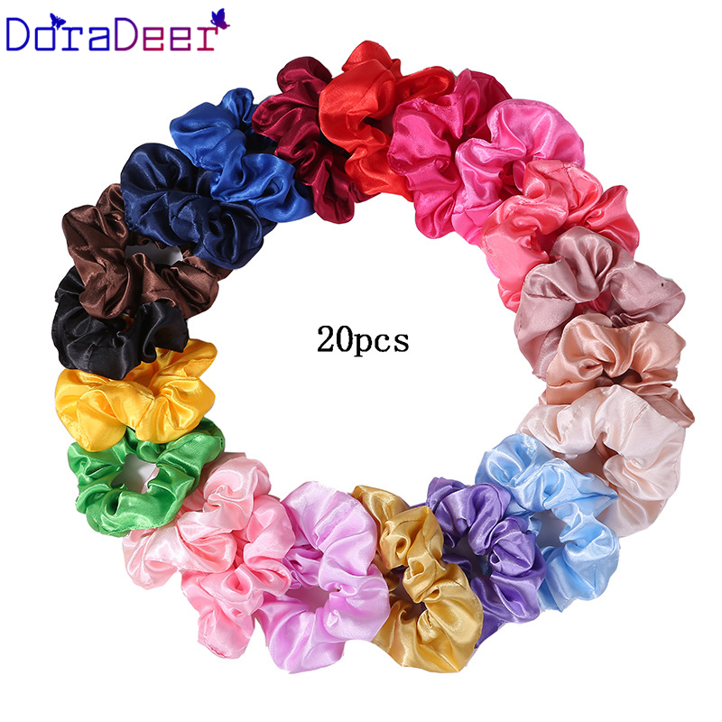 Doradeer Korean Silk Scrunchie Solid Color Lady Elastic Headbands For Women Girl Ponytail Holder Scrunchie Pack Women Hair Bands