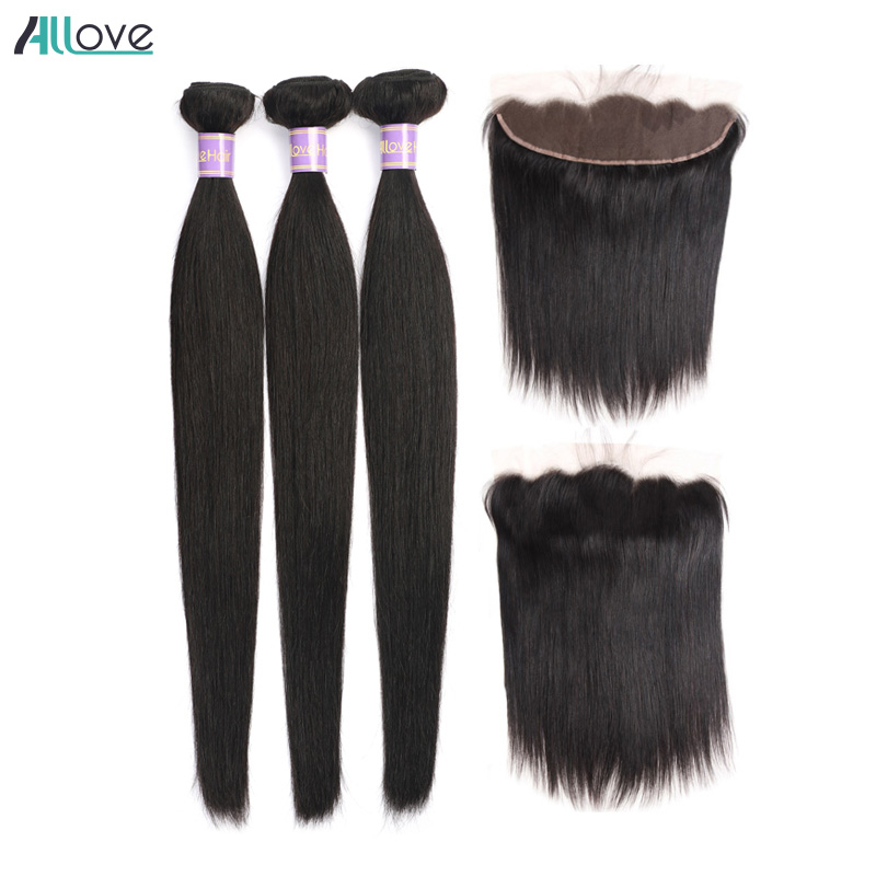 Allove Brazilian Straight Hair Bundles With Fontal Closure 100% Human Hair Weave Bundles with Frontal Wig Bundles with Frontal-in 3/4 Bundles with Closure from Hair Extensions & Wigs