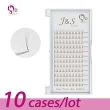 10 ถาด/Lot J & S คุณภาพสูงปริมาณแฟน 3D ขนตา 100% handmade Lash NATURAL จัดส่งฟรี