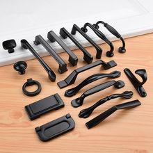 Poignées de meuble noir en alliage d'aluminium de Style américain, cuisine solide tire boutons de tiroir placard, quincaillerie pour poignée de meuble