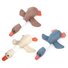 1 pc Cat puppy pet chew toy Lovely dog toys animal squirrel plush Cartoon bite Linen cloth For Dog Wild goose squeak