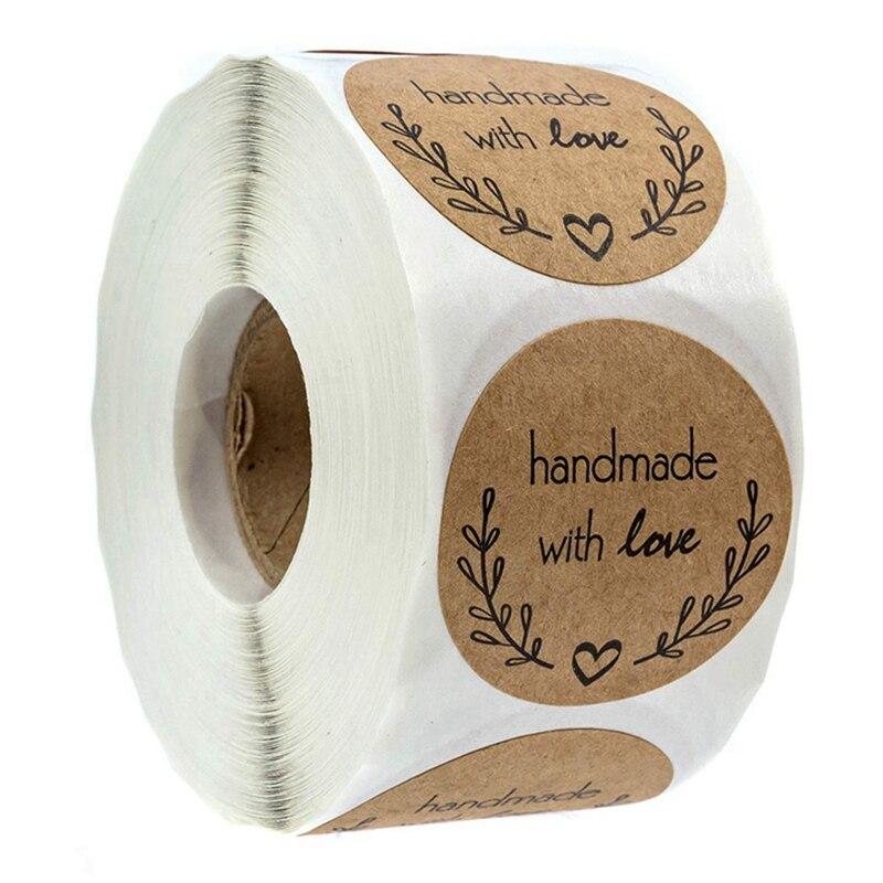 500 Uds amor rama de olivo pegatinas hechas a mano para hornear pegatinas hechas a mano amor papel Kraft pegatinas redondas|pegatinas|   - AliExpress