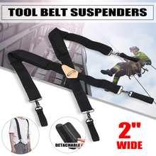 Plus 128cm Length 5cm Wide Suspenders Adjustable Elastic Four Clip-on X- Back Elastic Heavy Duty Braces Mens Suspenders