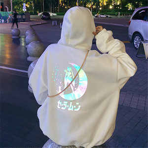 Sailor Moon Reflective oversized women Hoodie clothes tops Cartoon Women Loose harajuku Pullover Tops Streetwear Sweatshirt