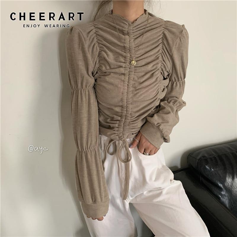 CHEERART Drawstring Womens Tops And Blouses Long Sleeve Crop Top Designer Ladies Top Korean Fashion Clothing 2020