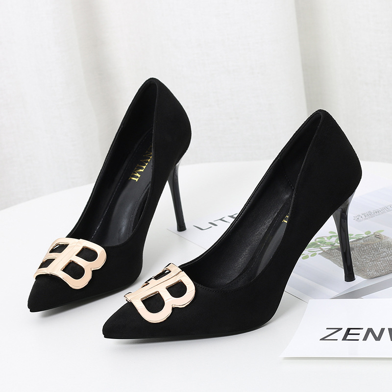 QSR 9CM PUMPS Women's Shoes Single Shoes 2019 Spring New Women's Shoes Shallow Mouth Stiletto Pointed Ladies High Heels