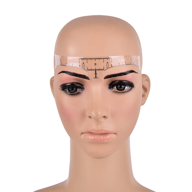 100Pcs Professional Permanent Makeup Eyebrow Shaping Tools Disposable Eyebrow Measurement Ruler Sticker 18*2.2cm 4