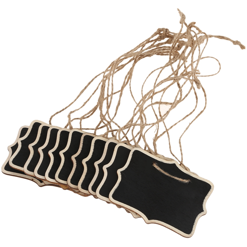 12pcs/lot Hemp Rope Hanging Rectangle Chalkboards Mini Chalk Writing Material For Message Note Board Signs (Color: Black)