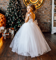 Custom White Ivory First Communion Dress for Girls Lace Applique Sheer Neck Girls Dresses Kid Party Gown