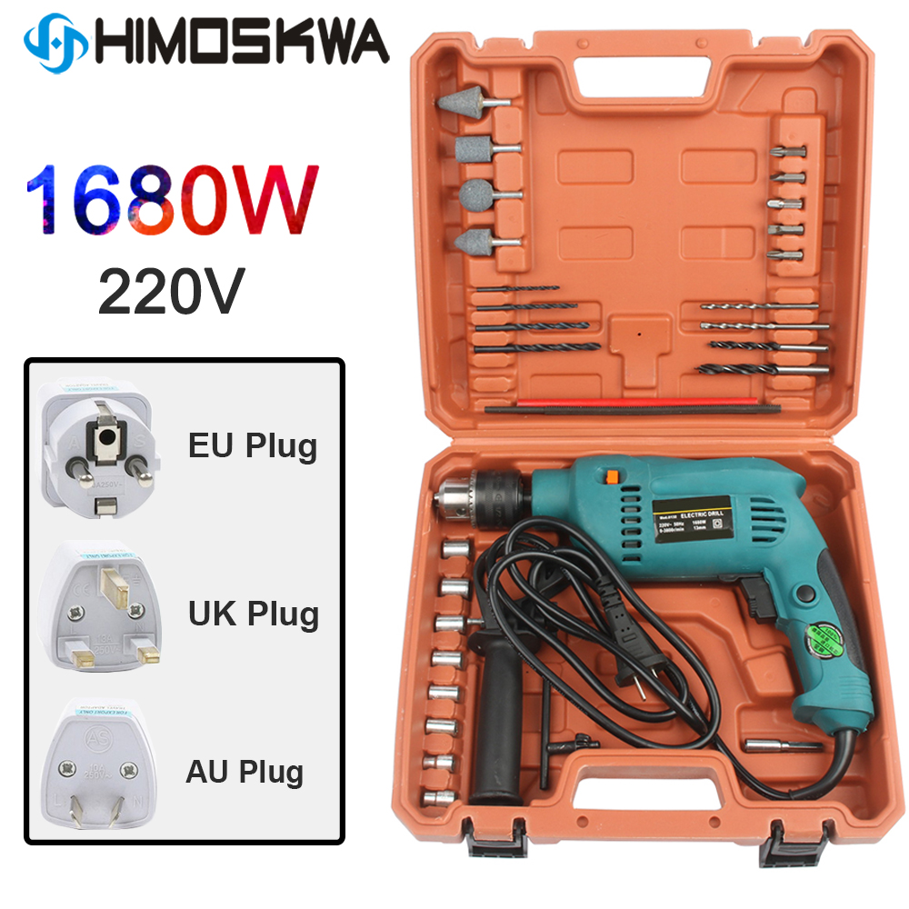 1680W 220V 240V  Electric Impact Drill Power Hammer Drill Electric Drill With 9PC Drill Bits EU Plug With Box