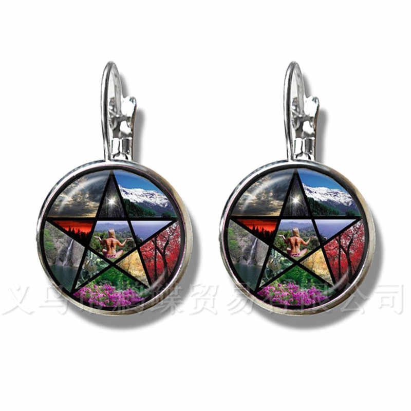 Classic Pentacle Earrings Tree of Life Picture Glass Cabochon Jewelry Silver Plated For Women Girls Children Gift