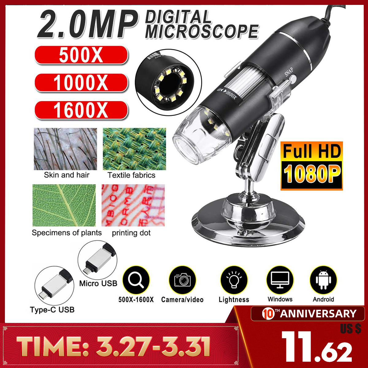 Adjustable 1600X 2MP 1080P 8 LED Digital Microscope Type-C/Micro USB Magnifier Electronic Stereo USB Endoscope For Phone PC