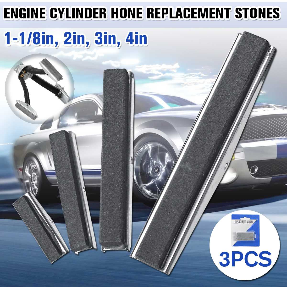 3pcs/set Hone Replaceable Stones For Brake Piston Engine Cylinder Hone Tool Replacement Stone 1.125/2/3/4inch 4 Size