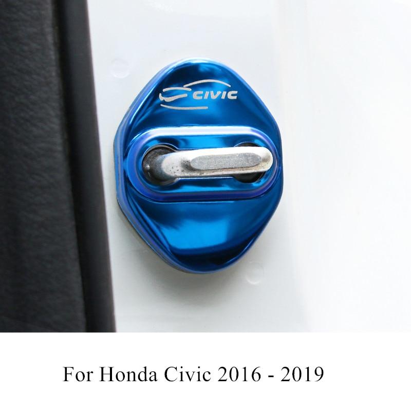 4 Pcs/set Stainless Steel Car Door Lock Protecetion Cover Waterproof Antirust For Honda Civic 2016 2017 2018 2019 Accessories