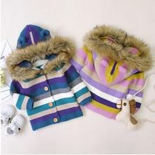 Winter Warm Newborn Baby Sweater Fur Hood Detachable Infant Boys Girl Knitted Ca