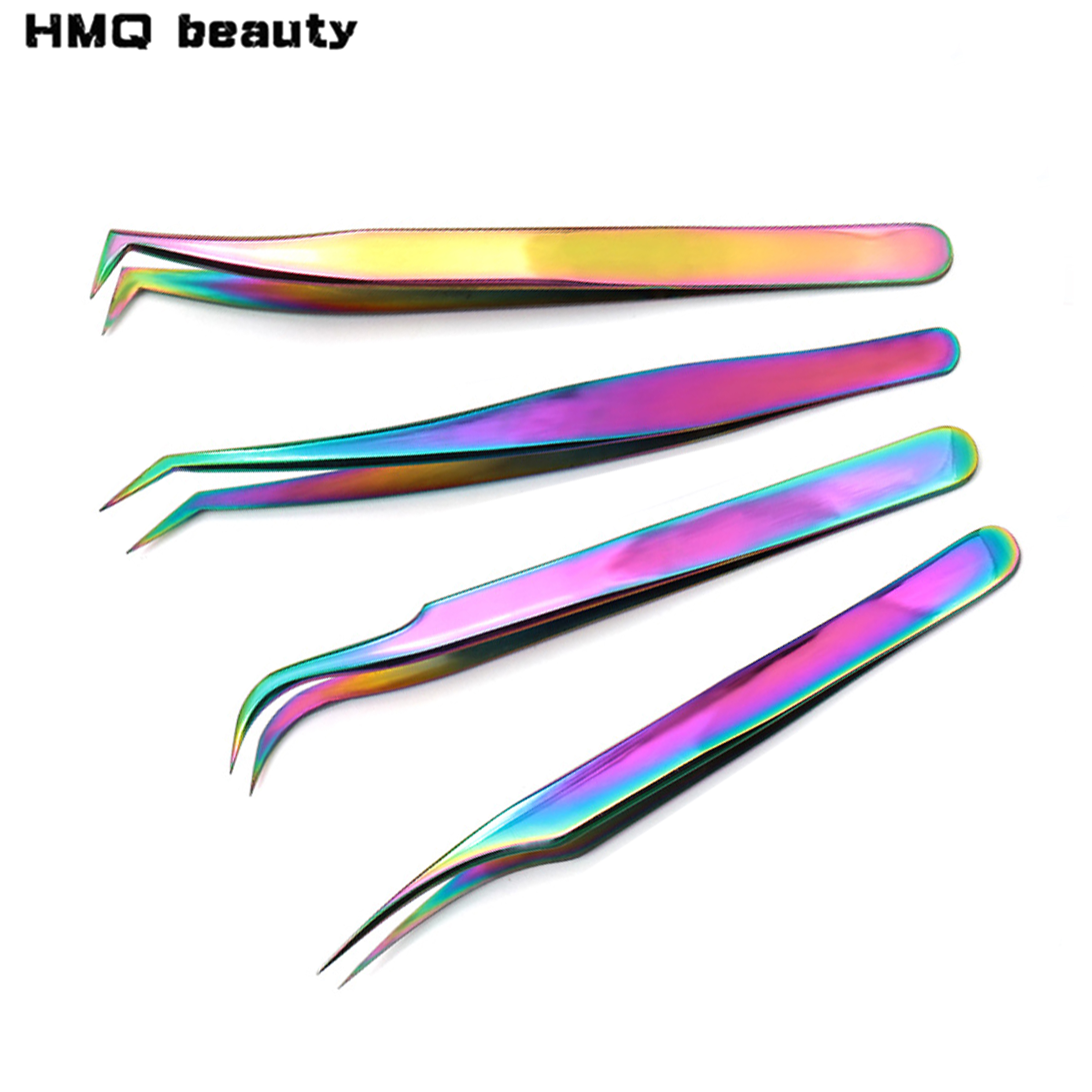 1pcs Professional Eyelashes Tweezers Stainless Steel Rainbow Decor Picker Anti-static Tweezer For Eyelash Extension Makeup Tools