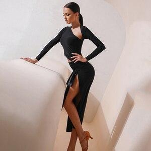 Image 4 - New Latin Dance Dress Adult Sexy Long Sleeve Dress Latin Competition Dresses Samba Dancing Costumes Performance Clothes SL4287