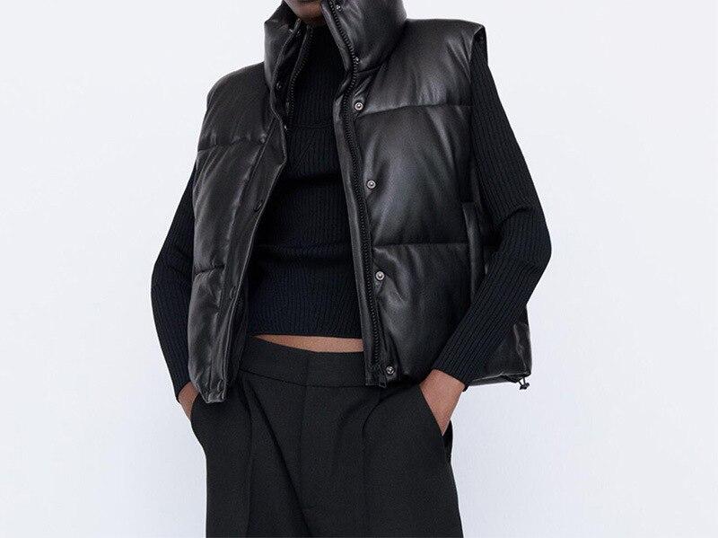 Осенне-зимняя женская черная теплая жилетка из искусственной кожи, повседневная куртка на молнии без рукавов, женская короткая хлопковая в...